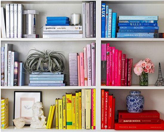 Color-coded bookshelf. Cute idea!