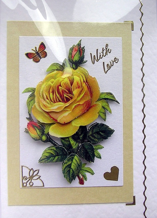 Yellow Rose HandCrafted 3D Decoupage Card  With by SunnyCrystals