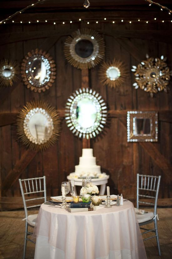 mirrors - barn wedding