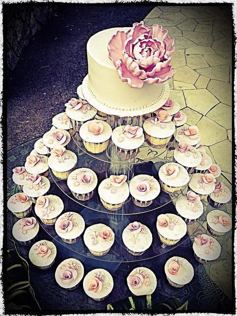 Romantic wedding cupcake tower.