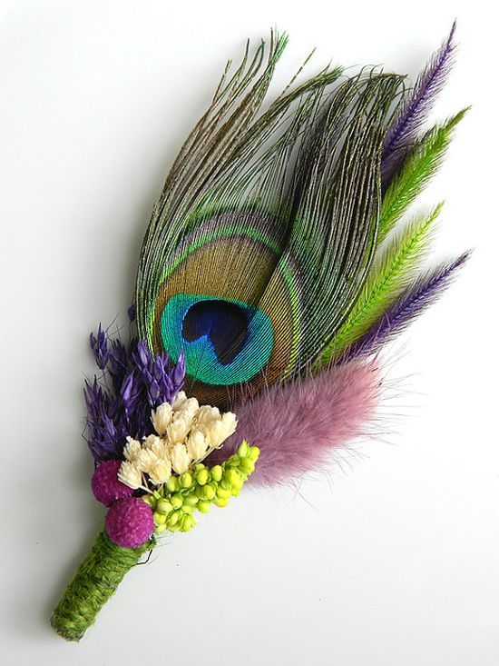 Blossom Peacock   Purple Blue Lime Green #boutonniere #wedding #groom #groomsmen #peacock #feather RACHAEL