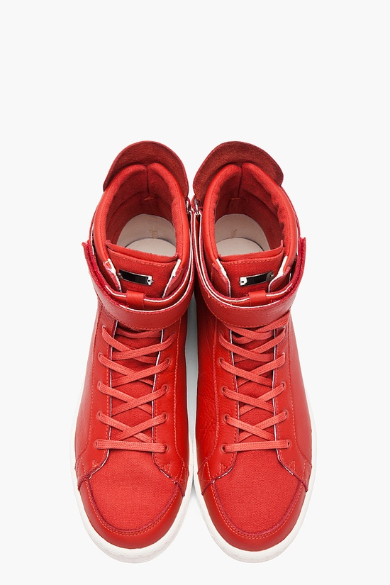 SLVR Red Cupsole High-top leather sneakers