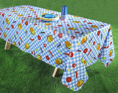BBQ theme table cloth for Summer parties with wipe-clean coating