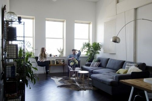 """Sneak Peek: A Modern Chicago Home. """"The wall paint in the living room, bedroom, and studio is Glidden Bright White."""" #sneakpeek"""