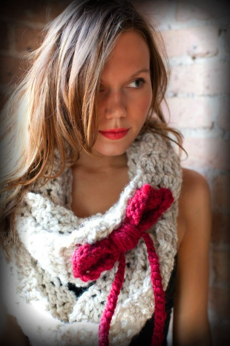 bow crochet scarf