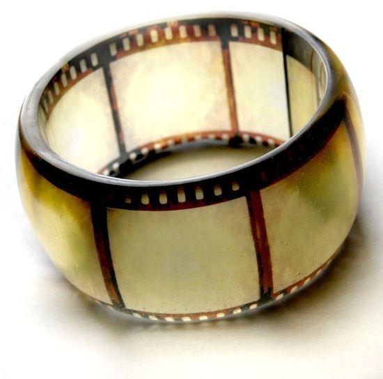 Resin bangle using old film negatives. So. Stinkin'. Cool.