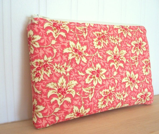 Handmade rose zipper pouch