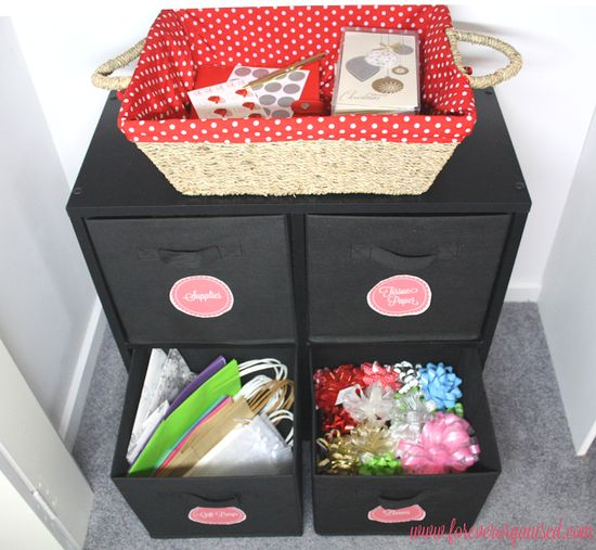 Organized Gift Wrapping Station