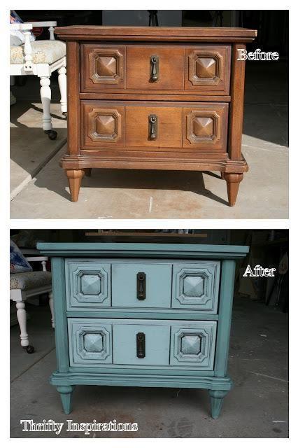 DIY Furniture : DIY Teal Tornadoes {A Nightstand}