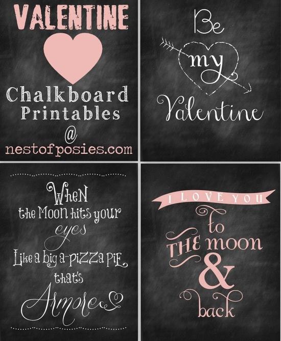 Valentine Chalkboard printables. Love these! #valentines