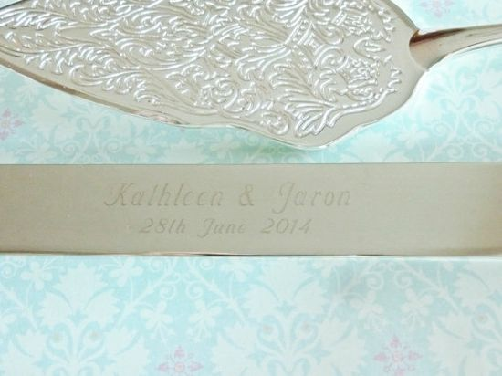 personalized wedding cake server and knife set