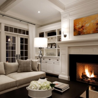 Like dark wood floor, dark pieces, lighter walls and lighter furniture.