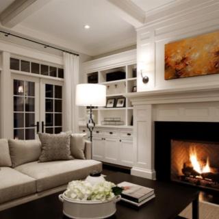 Like dark wood floor, dark pieces, lighter walls and lighter furniture.