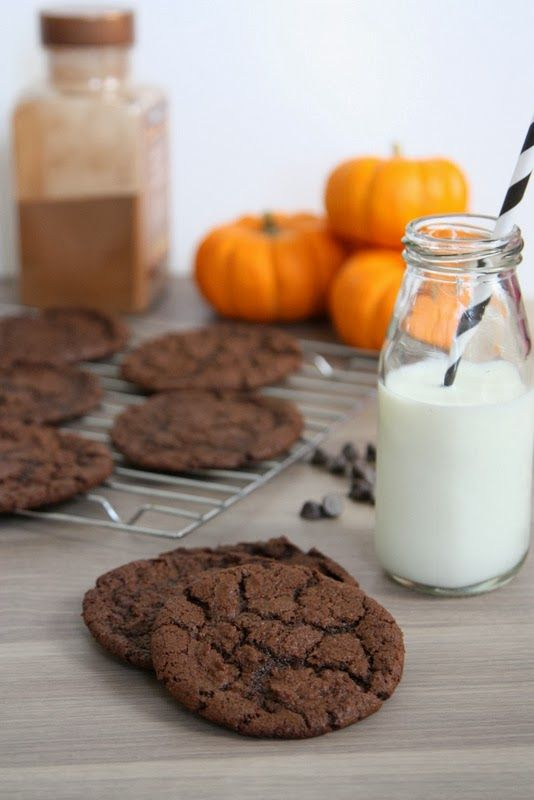 Double Chocolate Pumpkin Cookies -- the BEST pumpkin cookies. The flavor of pumpkin and the texture (crisp edges, chewy center) of a traditional chocolate chip cookie.