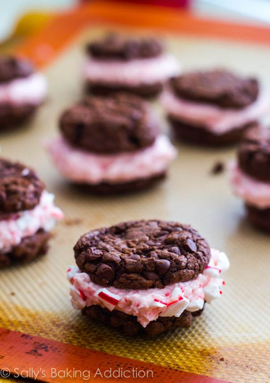 Chocolate Fudge Cookies with Candy Cane Buttercream