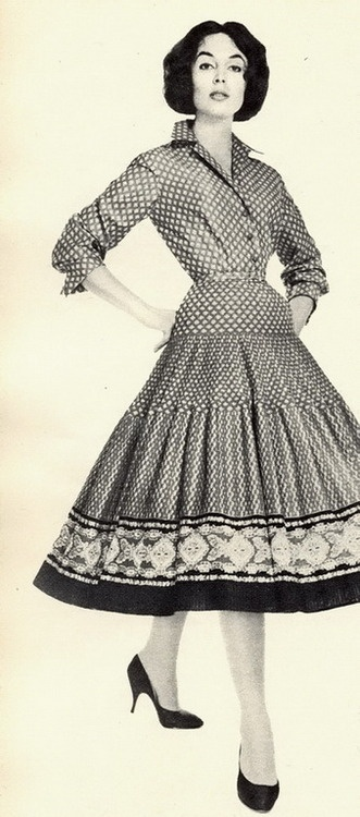 Oodles of dots and a great hemline pattern, 1957. #vintage #fashion #dress #1950s