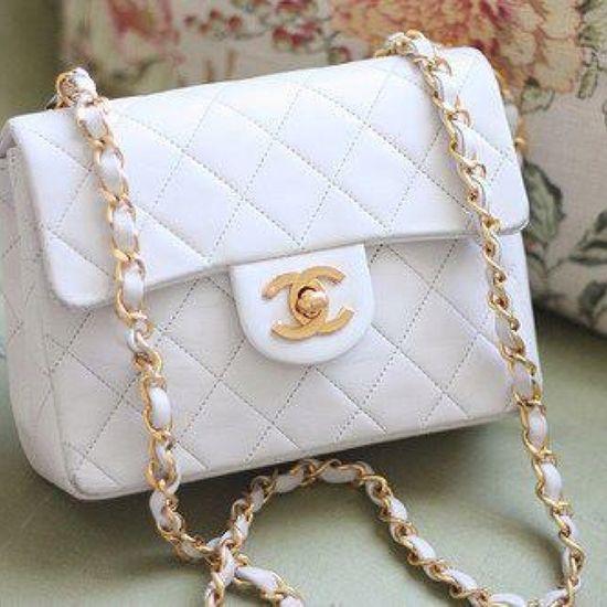 White & Gold Chanel handbag