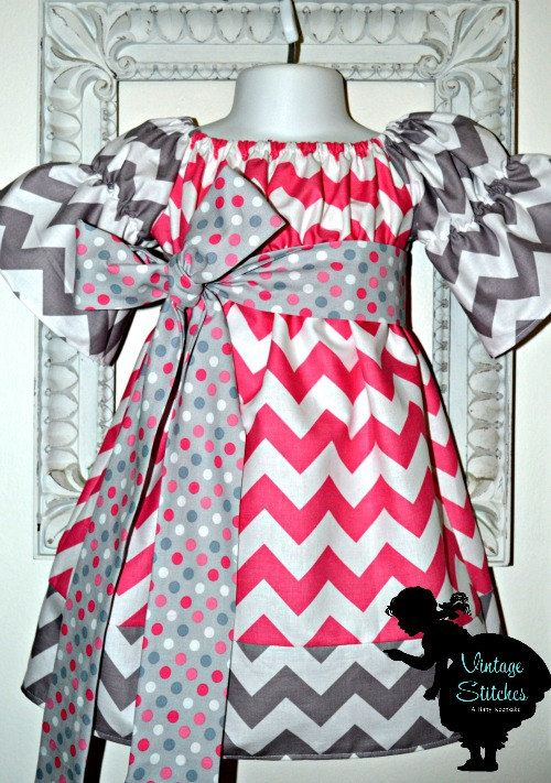 Vintage Stitches Sweet Chevron Sophia Dress - girl dress- girl clothing- baby clothing. $35.00, via Etsy.