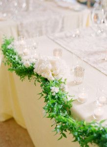 Wedding table garland #Green #Wedding ideas for #Same #Sex #Wedding… Wedding ideas for brides, grooms, parents & planners itunes.apple.com/... … plus how to organise an entire wedding, within ANY budget ? The Gold Wedding Planner iPhone #App ? For more pinterest.com/...