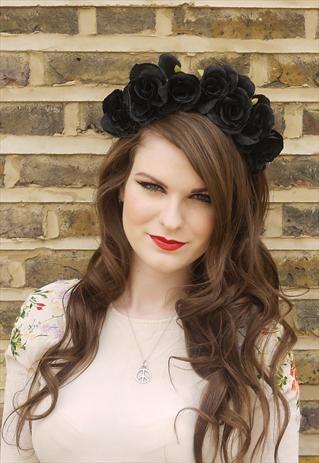 Handmade Black Rose Flower Headdress Crown (make with smaller roses)