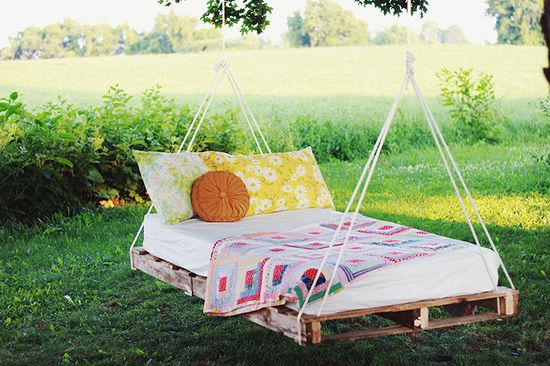 Interesting idea and it makes for a beautiful picture . . . but in my world, one could expect bird and bug droppings.  And what about rainy days?  Share your ideas of where to better place this unique bed!