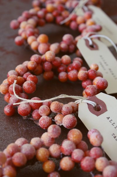 3 Uses: DIY glittered berry mini wreaths for decor,  place cards for holiday dinners, gift box name tags.  #lulusholiday