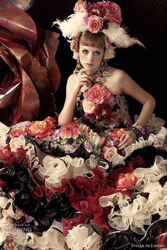 wedding dress flowers stella de libero
