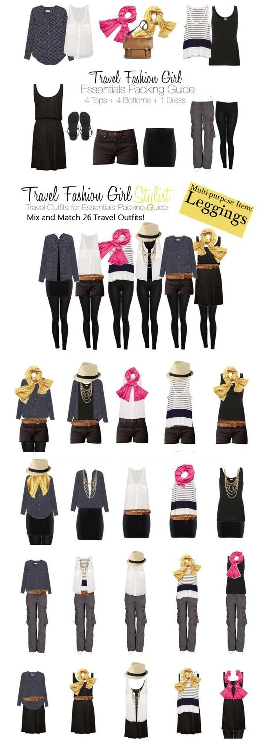 Mix and Match 26 Travel Outfits with 8 Pieces of Clothing #travel #outfits via TravelFashionGirl...