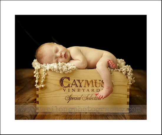 Cute Baby Sleeping in Caymus wine box from Cari Long Photography