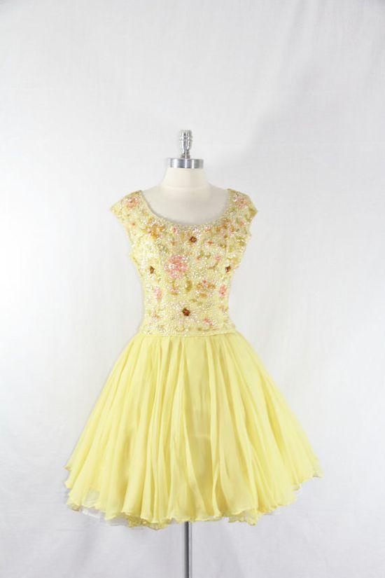 1950s Vintage Dress  Yellow Silk