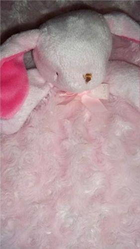 Blankets Beyond Pink Swirl Satin Bunny Rabbit Security Baby Girl Plush Blanket