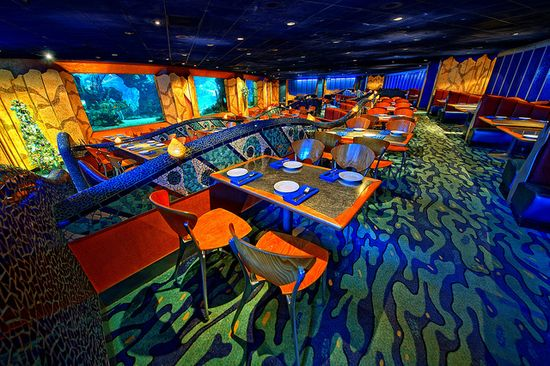 """#Coral Reef #Restaurant, #Florida - Located in #Disney World, this #seafood #restaurant allows you to dine while being """"surrounded by stunning #underwater views of the #Caribbean Coral Reef."""""""
