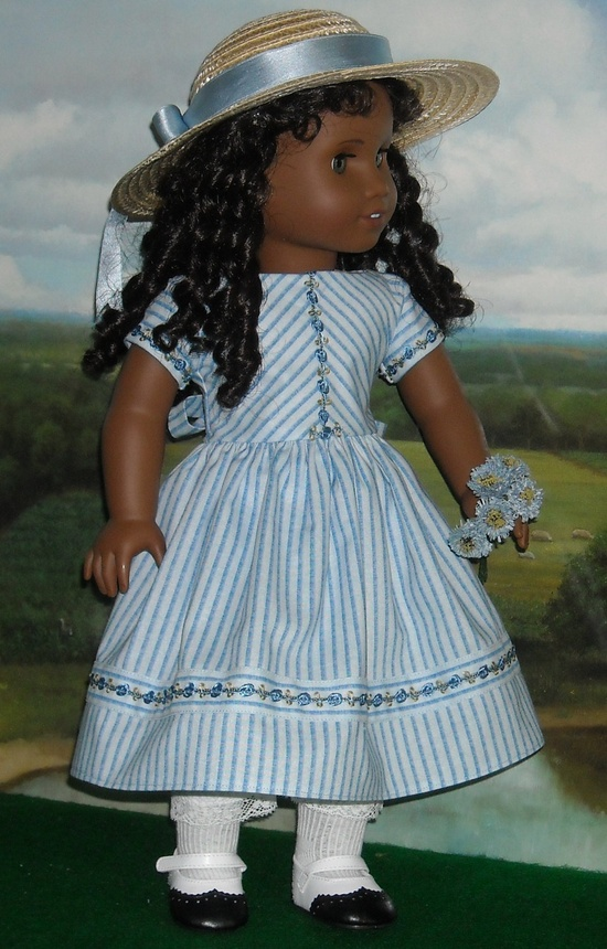 1850's Blue-on-Blue Stripe Summer Dress with Hat for 18 inch Dolls. $85.00, via Etsy. SugarloafDollClothes