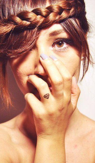 diamond tattoo on finger