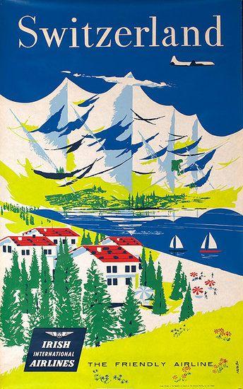 See Switzerland via Irish International Airlines. #vintage #travel #posters