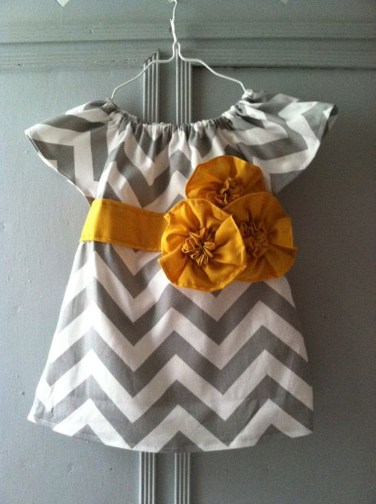 Custom Girl's Size 7 - 12 Gray Chevron Short Sleeve Tunic Dress on Etsy, $38.50