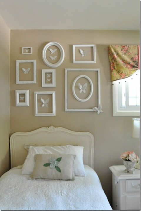 Cute idea for a girls bedroom. Could do flowers, hearts, etc instead of butterflies if wanted to.