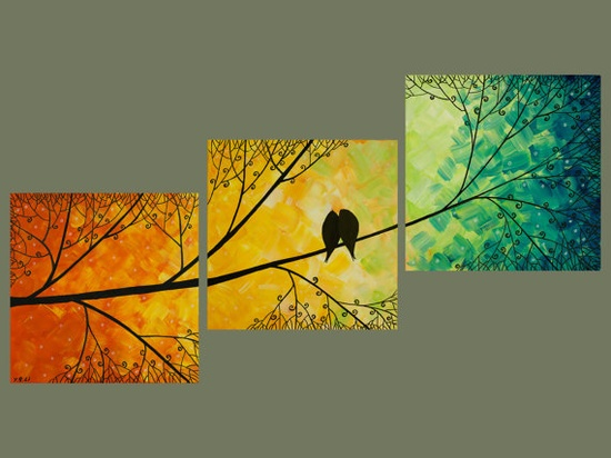 """36x12 Original Modern Texture Impasto Metallic Painting Landscape Tree Branches Wall Decor """"Love Birds and Sunset Forest"""" by QIQIGALLERY  love these gradation paintings."""