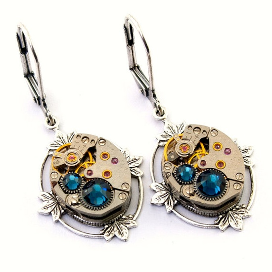Steampunk Earrings - GORGEOUS Vintage Clockwork Design & Montana Blue Swarovski Crystals - All Steampunk Jewelry Promptly Shipped.
