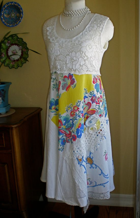 Upcycled tablecloth and lace sundress