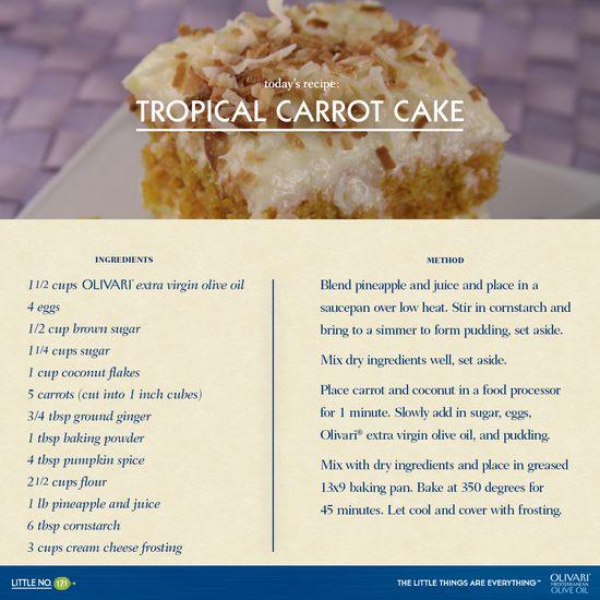 Tropical Carrot Cake. #Recipe #LittleThings