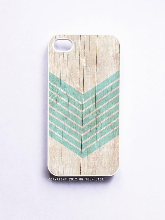 iPhone 4 Case Wood Print Geometric Aquamarine by onyourcasestore, $16.99