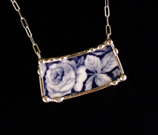Broken china jewelry necklace by Dishfunctional Designs. Made from a broken plate, flow blue rose
