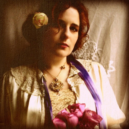 Gold Lace Wedding Necklace / Medieval / Purple by EderaJewelry, $429.00
