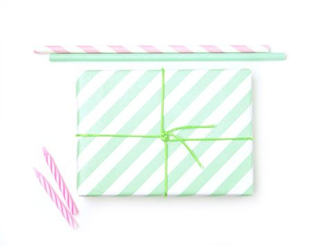 mint stripe gift wrap