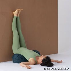legs up the wall pose - Encourages circulation of blood and lymph from the feet and legs. Bathes the abdomen in fresh blood, stimulating the digestive organs. Soothes the nervous system, allowing your body to shift its attention from warding off stress to daily bodily functions, including detox.