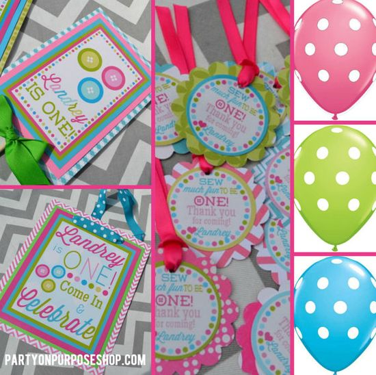 Cute as a Button Birthday Party Decorations Package - Sew Cute