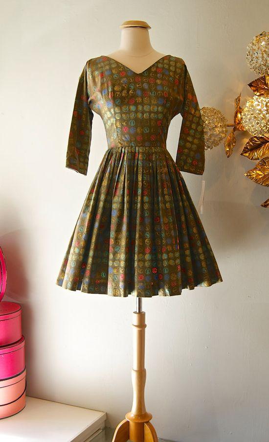 50s Dress // Vintage 1950s Jonathan Logan Novelty by xtabayvintage, $125.00