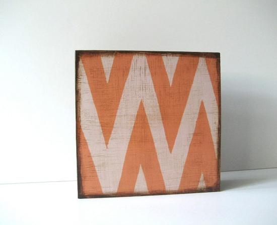 Zigzag Chevron Art Block on Wood by redtilestudio $28 #art #Etsy www.etsy.com/...