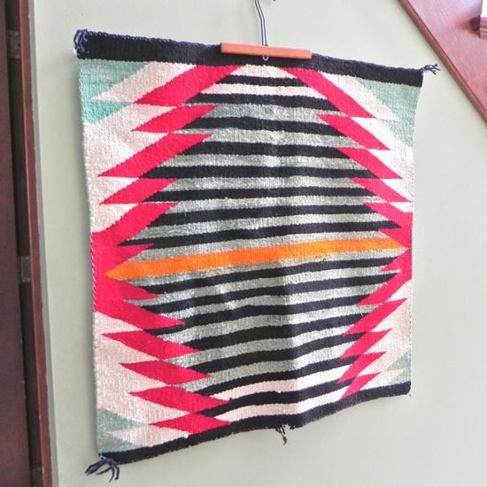 Vintage Navajo saddle blanket rug textile southwest native american indian. $109.99, via Etsy.